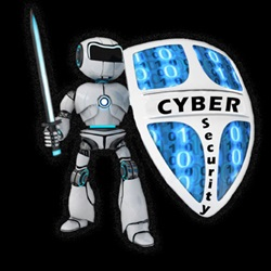 cyber security robot with sword and shield image