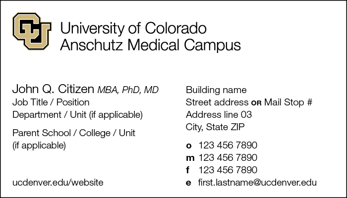 Stationery cu anschutz business card front example colourmoves