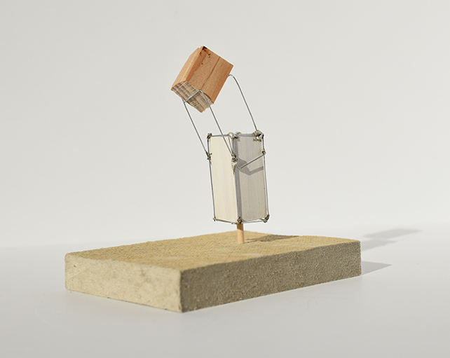 Photograph of study model made with wood, wire and foam