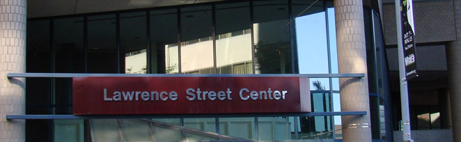 Lawrence Street Center sign