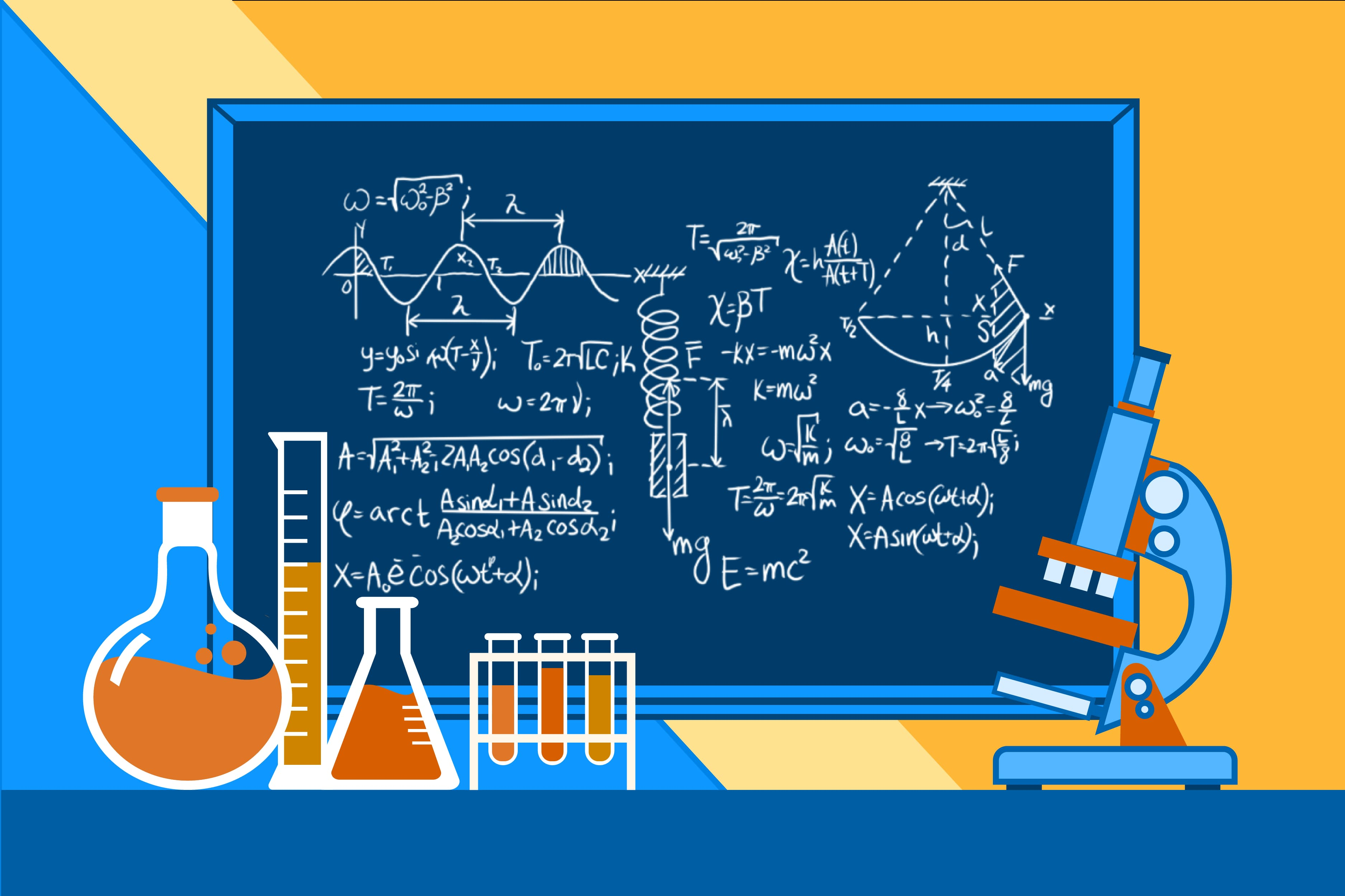 supplemental instruction illustration with physics equations on a blackboard