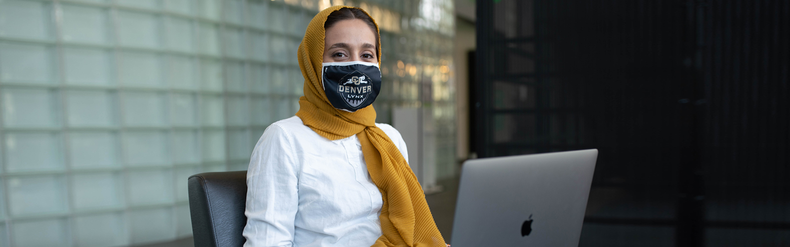 Student wearing face covering