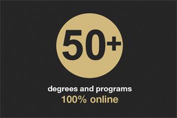 Fifty degrees and programs that are one-hundred percent online