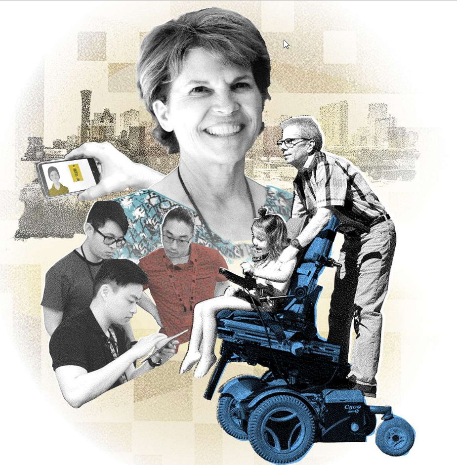 A collage featuring a female faculty member smiling, a hand holding a mobile device, the Denver city skyline, a trio of college students collaborating around an iPad, and a man riding on the back of a wheelchair driven by a young girl