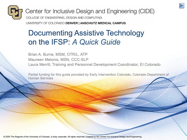 first slide of the IFSP quick guide