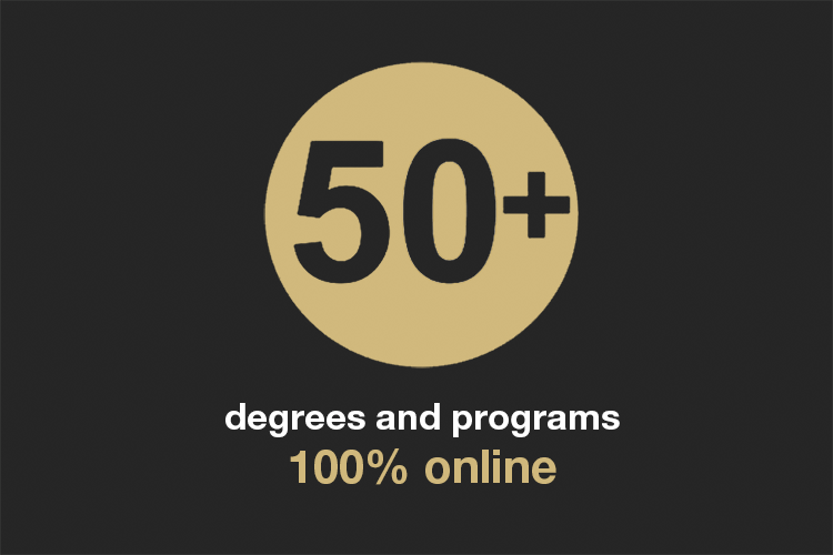 50 plus degrees and programs 100% online