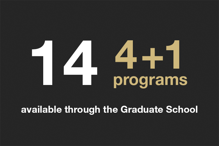 Fourteen 4 plus 1 programs available through the Graduate school